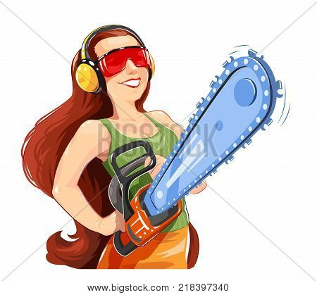 Beautiful girl with chain saw. Work Occupation. Womans profession cutting tool. Worker with Isolated white background. Eps10 vector illustration.
