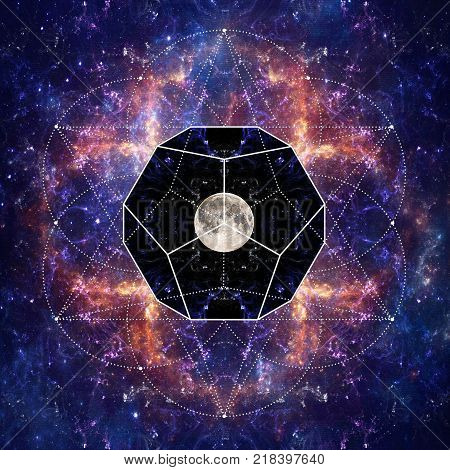Photo of the Moon and Sacred Geometry by Sergey Nosov