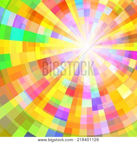 Abstract Colorful Circle Tunnel. Vector Background Illustration