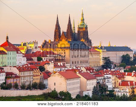 Prague Castle with Saint Vitus Cathedral. Evening view from Strahov Monastery gardens, Hradcany, Prague, Czech Republic.