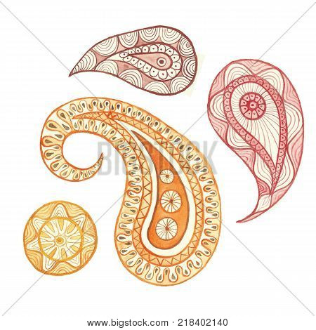 Watercolor painting Indian ornament Turkish cucumber, Persian cucumber, oriental cucumber, Tear of Allah, Paisley, floral ornament, cucumber, in warm colors, set, on white background