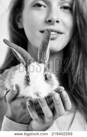 Pretty Woman With Rabbit
