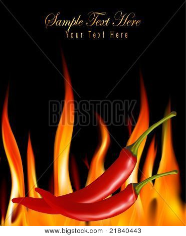 Hot chili peppers in fire. Vector.
