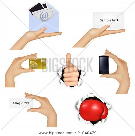 Set of hands holding different business objects and red boxing glove. Vector illustration.