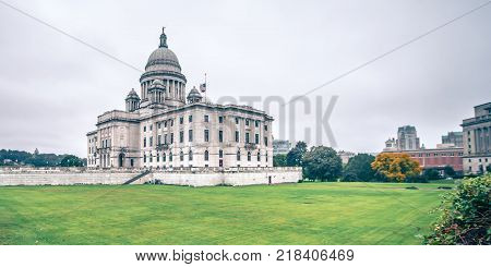rhode island state capitol building on cloudy day