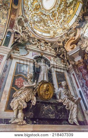 Florence Italy - April 06 2017: Interior of the Basilica della Santissima Annunziata (Basilica of the Most Holy Annunciation)
