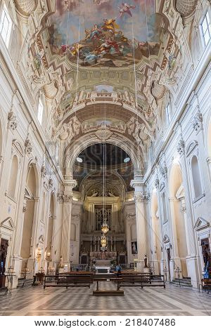 Florence Italy - April 08 2017: Interior of Santa Maria del Carmine church is famous as the location of the Brancacci Chapel