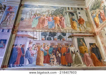 Florence Italy - April 08 2017: Brancacci Chapel in the Church of Santa Maria del Carmine famous of Renaissance frescoes by Masaccio and Masolino da Panicale lilippino Lippi