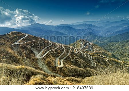 Beautiful Curvy roads on Old Silk Route Silk trading route between China and India Sikkim
