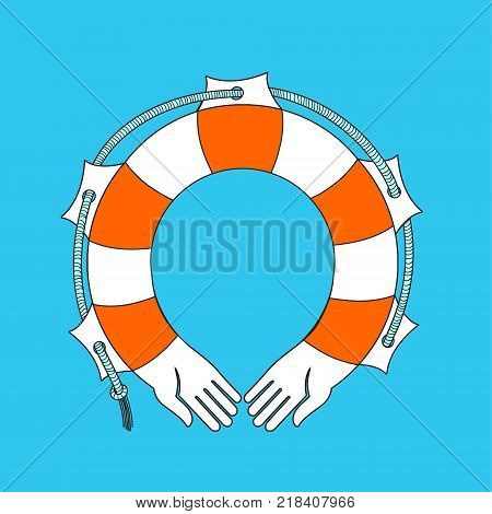 Lifebuoy icon . Vector illustration. Rescue on the water lifeline in the form of human arms. A good illustration of the subject of care or a logo for an insurance company.
