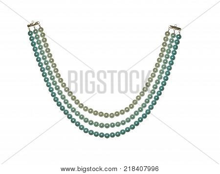 Necklace of colorful glass beads isolated on white background.