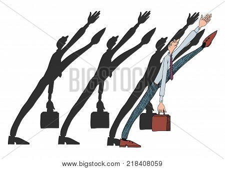 Everyday life of an office worker. Vector illustration on the theme of office politics. Character in the tie with a briefcase.