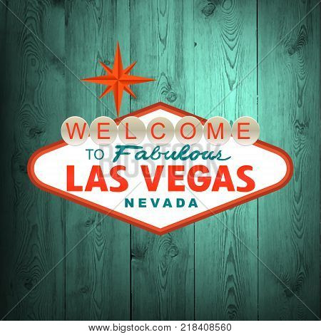 Las Vegas Sign on wood. Vector illustration