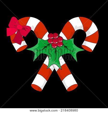 Christmas Candy Cane with Red Bow and Holly Berries. Silhouette Icon Symbol Design. Vector Candy Cane illustration isolated on black background