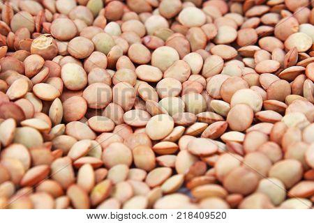 Eating lentil texture. Lentils pattern as background. Eating lentils.