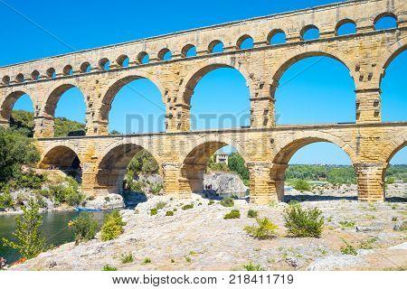 France Nimes the Ponr Du Gard ancient Roman aqueduct on the Gardon river poster