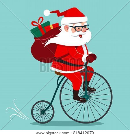Vector cartoon illustration of Santa Claus riding antique vintage penny-farthing bicycle with backpack full of gifts on back. Retro hipster Christmas holiday contemporary flat style design element.