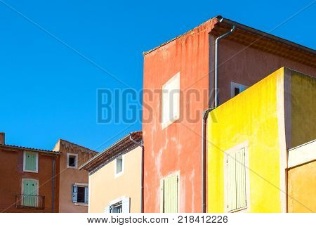 France Roussillon Vaucluse the colorful houses of the village
