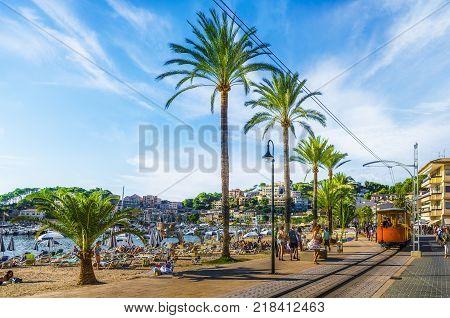 Port De Soller Mallorca Spain - October 13 2017: Famous tramway tren of Port de Soller Palma Mallorca Spain