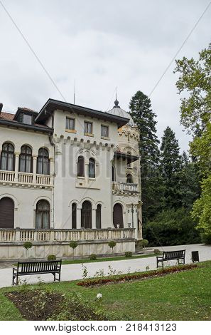 Fragment of restored Vrana Palace  in National monument of landscape architecture Park museum Vrana in former time royal palace on the outskirts of Sofia, Bulgaria, Europe