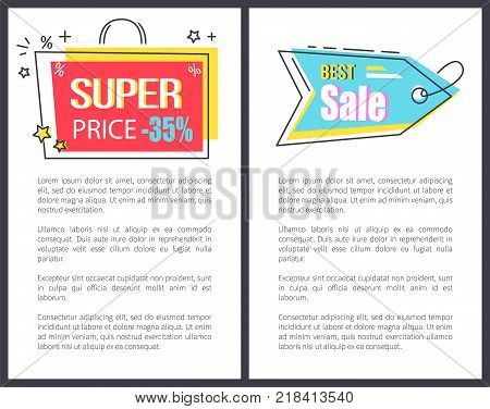 Super price best sale promo sticker in bag shape frame arrow pointer 35 discount offer vector illustration posters set isolated labels and place for text