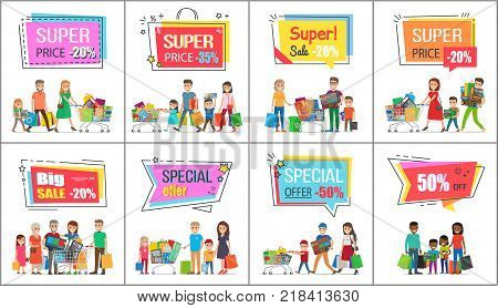 Big sale with super prise for wholesale purchases promotional posters set. Families out on shoppings with full bags and trolleys vector illustrations.