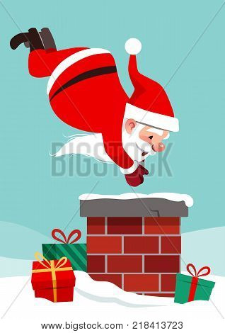 Vector cartoon character illustration of Santa Claus on roof in mid air diving into chimney with boxed gifts lying around in snow. Funny humorous Christmas holiday design element in flat style.
