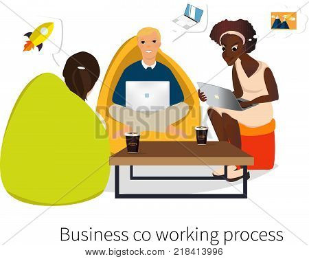 Business co working process. Three people make conversation and work together. Open space office. Man, girl, students, bag chair, colored vector illustration.