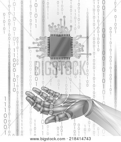 Robot android hand hold processor cpu. Low poly polygonal particle point line geometric render. Computer high science microchip future technology concept white binary code vector illustration art