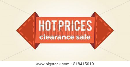 Hot prices clearance sale promo label in arrow shape informing about reduction of cost, vector illustration 3D web push button isolated on white backdrop