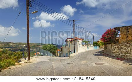 Cyprus. Omodos village in the Troodos Mountains in the summer sunny day