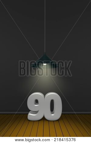 number ninety under a lamp - 3d rendering