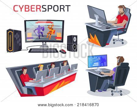 Cybersport set of icons representing workplace of gamer consisting of pc, mouse and keyboard, team and person playing video game vector illustration