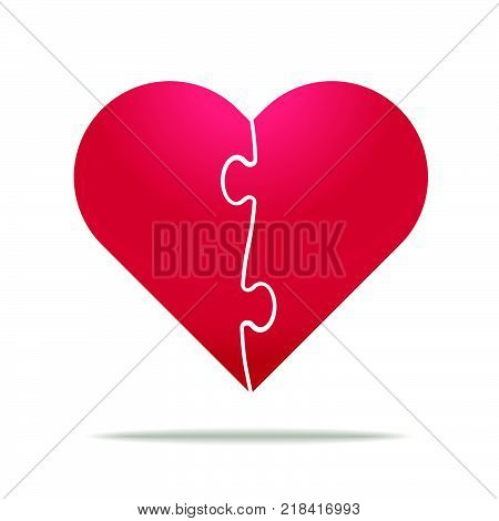 Puzzle heart divided in two parts - relationship divorce