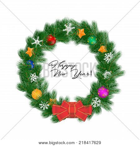 Christmas Wreath: Vector Illustration Isolated on White. Red Bow, Snowflakes, Multicolored Christmas Balls, Golden Stars. Complex Realistic Christmas Wreath. Happy New Year Lettering.