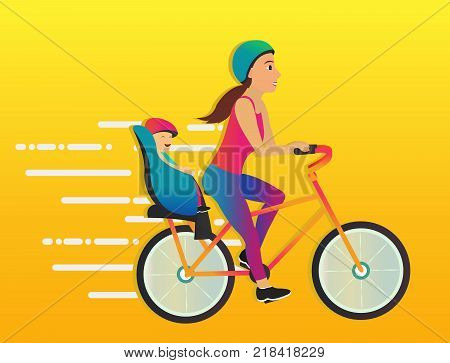 Young woman taking her daughter on bike ride. Beautiful young girl riding bicycle. - stock vector