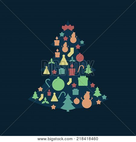 Blue Christmas Tree and Christmas Holiday Related Icon Pattern in Vintage Style and Retro Faded Colors.