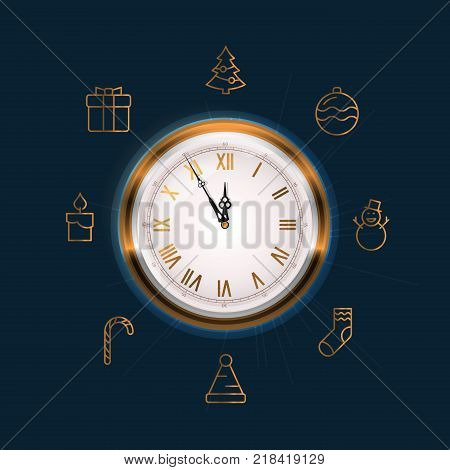 Old Wall Clock Face Showing Five to Twelve. New Year is Coming Soon Concept. Also Contains 8 Gold Line Icons Related to the Theme Christmas and New Year.