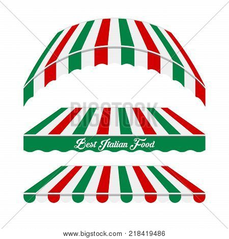 Awnings Vector Set. Different Forms. Colors of the Italian Flag. Italian Cafe, Pizzeria, Market Store Design Elements.