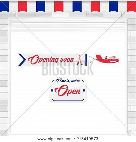 French Cafe, Baguette Shop, Market Store Design Elements. White Shutter Door or Roller Door with Open Sign. Airplane Banner - Opening Soon. Vector Illustration.