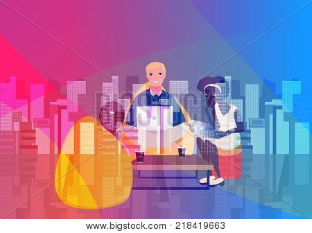 Double exposure business. Vector illustration. Business co working process. Three people make conversation and work together. Open space office. Man, girl, students, bag chair, gradient illustration.