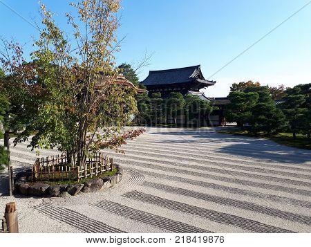 A view of the Zen Garden in Ryoanji Temple in Kyoto, Japan.