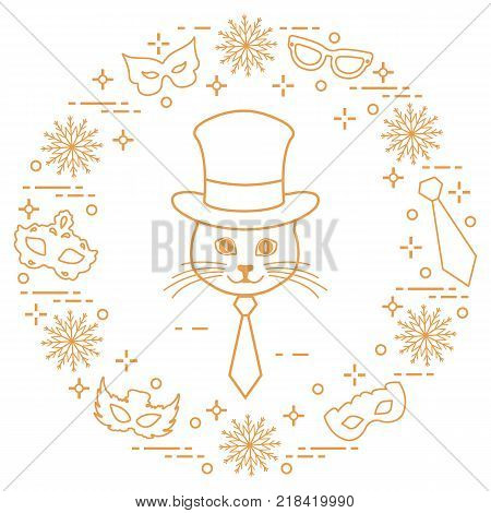 Muzzle of a cat in a cylinder hat and carnival masks, snowflakes, glasses, tie. Carnival festive concept. Costume for a party.