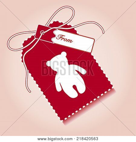 New year and christmas gift tag with toy bear and ribbon. Design for postcard, banner, poster or print.