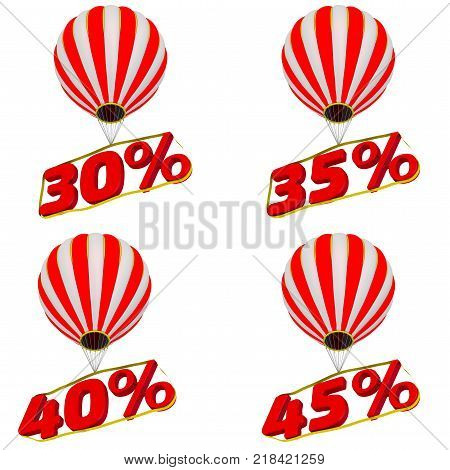 Percentage fly in a balloon. Set of 30;35;40;45 percentage flies on a hot air balloon. Isolated. 3D Illustration