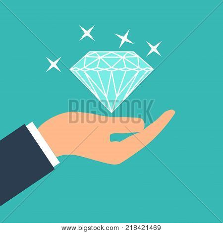 Big shining diamond in hand. Wedding concept. Marriage proposal. Design vector illustration.