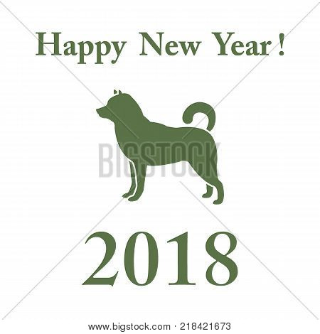 Shiba Inu silhouette and inscription happy new year. Design element for postcard, banner, poster or print.