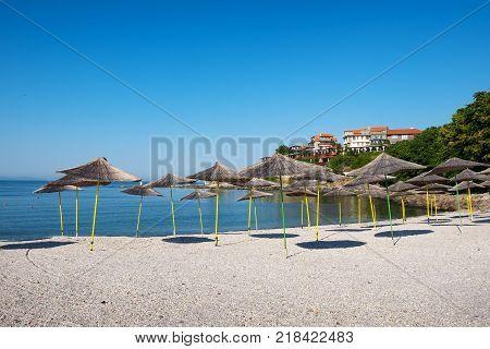 Beach in ancient city of Nessebar Bulgaria