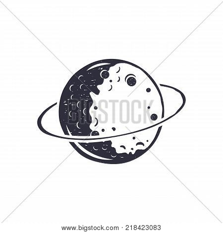 Vintage hand drawn moon symbol. Silhouette monochrome moon icon. Stock vector illustration isolated on white background. Retro design pictogram