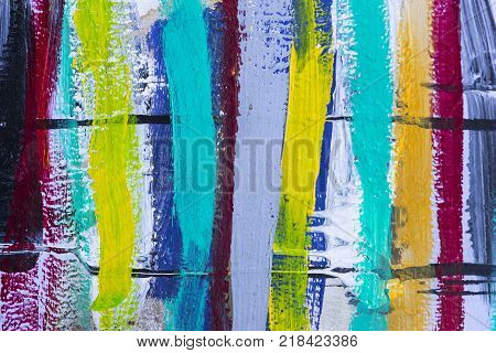 Colored stripes background of acrylic paint close-up